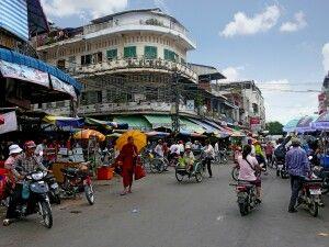Straßenszene im Herzen Phnom Penhs