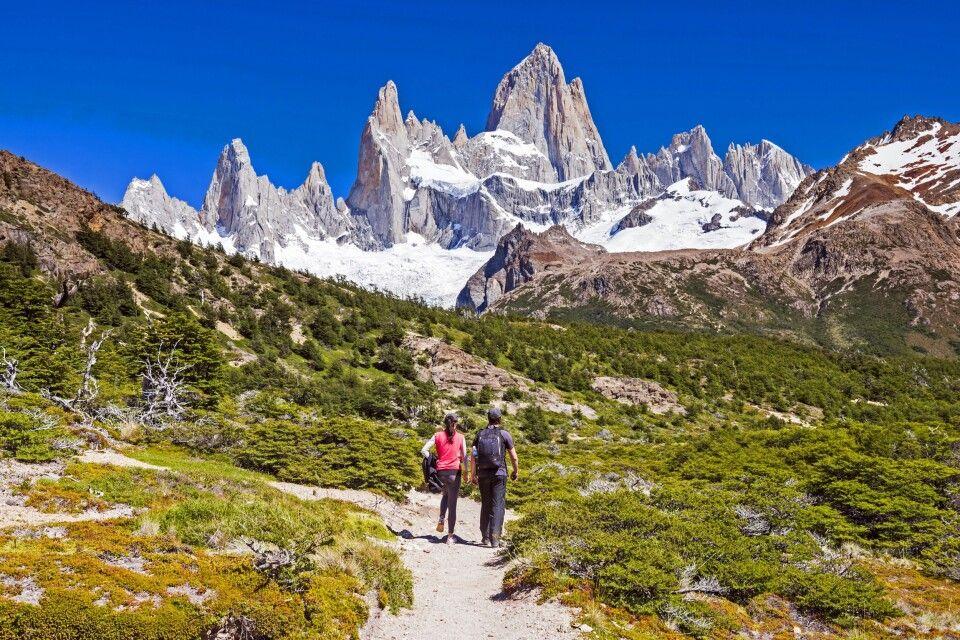 Trekking im Los-Glaciares-Nationalpark, auf dem Weg zur Laguna de los Tres und Blick zum Fitz Roy