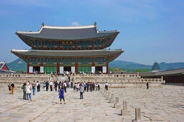 Der Kaiserpalast im Zentrum der koreanischen Hauptstadt Seoul
