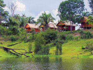 Blick vom Fluss auf Turtle Lodge