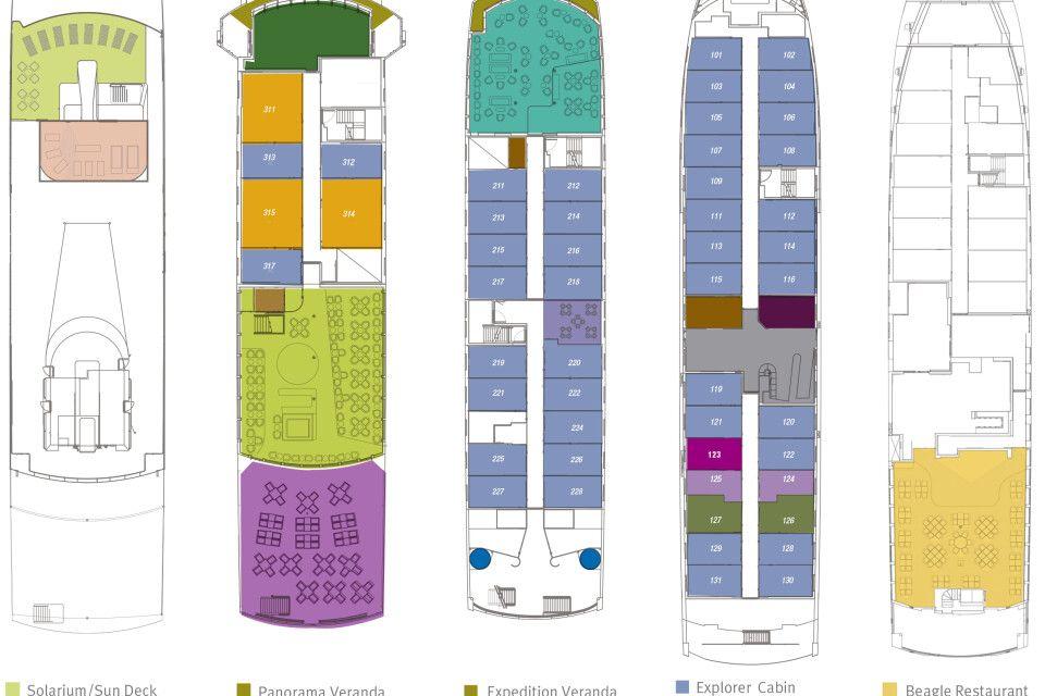 Galapagoskreuzfahrt Santa Cruz II Decks
