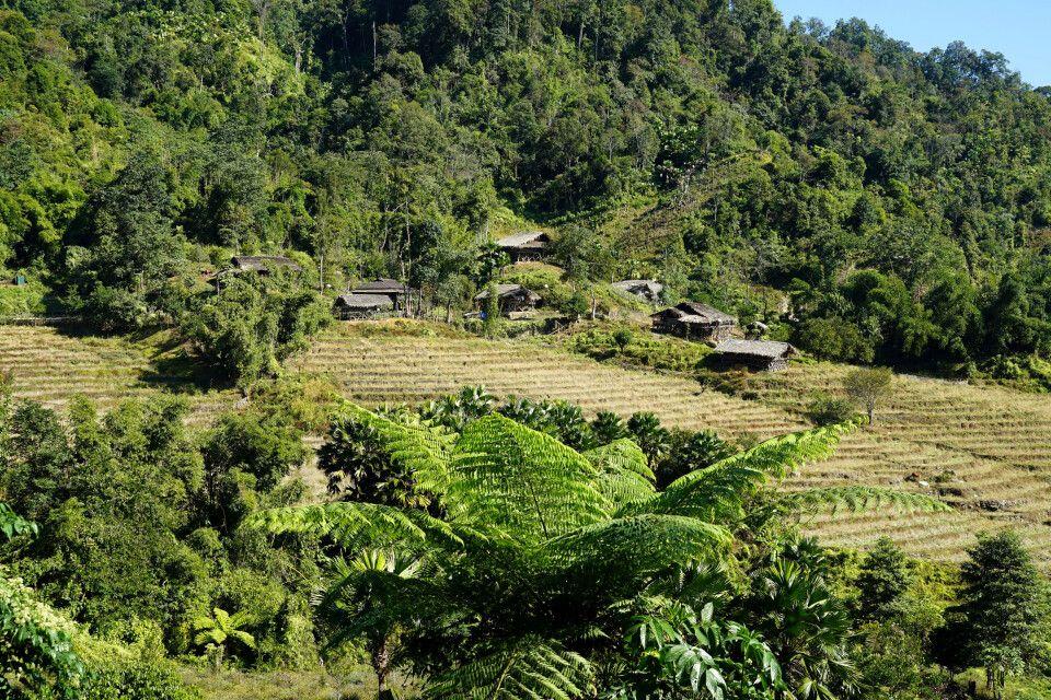 herrliche Landschaft auf dem Weg nach Daporijo in Arunachal Pradesh