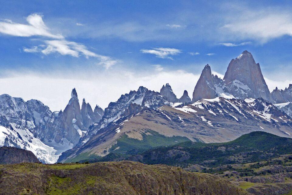 Bergmassiv mit Cerro Torre und Fitz Roy