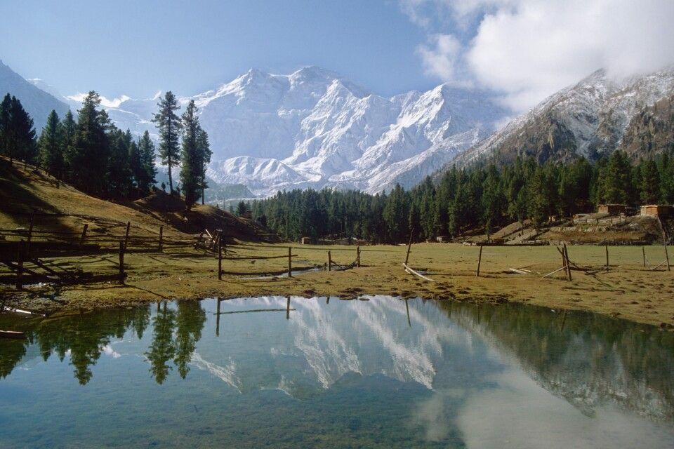 Der Nanga Parbat spiegelt sich im Gewässer auf der malerischen Märchenwiese.