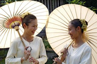 Traditionelle Schirme in Chiang Mai