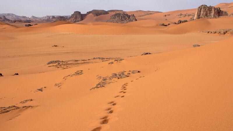 Felsformationen und gelb-rote Dünen der Sahara © Diamir