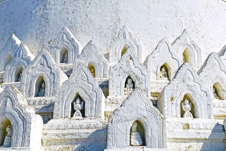 Nische an der weißen Hsinbyume-Pagode in Mingun